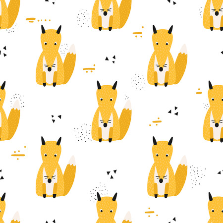 Seamless pattern with cute sitting foxes on a white background. Vector illustration.
