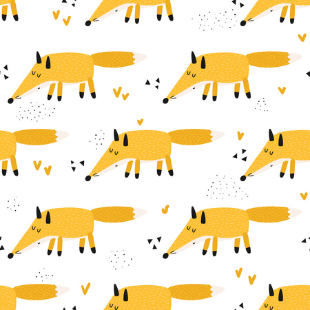 Seamless pattern with cute red foxes on a white background. Vector illustration for kids.