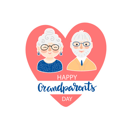 Illustration with smiling grandmother and grandfather faces on a background of red heart and inscription - Happy grandparents day on a white background. Vector illustration.
