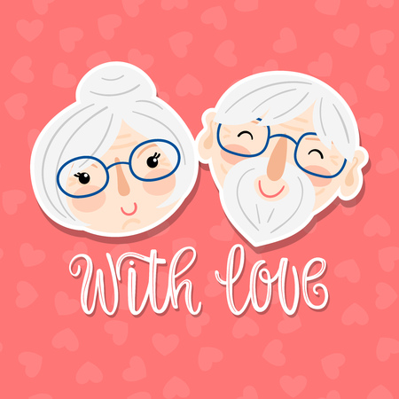 Hand drawn cartoon grandparents faces with text - with love on a pink background with hearts. Vector illustration for Grandparents Day.