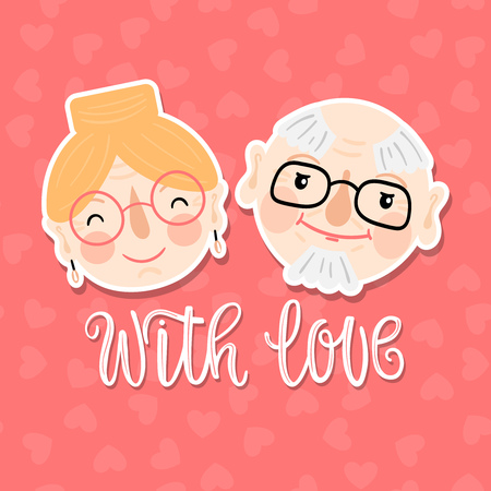 Hand-drawn smiling grandparents faces with inscription - with love on a pink background with hearts. Vector illustration for Grandparents Day.