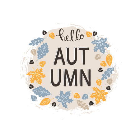 Hello autumn - hand lettering phrase on beige background decorated with autumn leaves isolated on white. Vector illustration. Ilustrace
