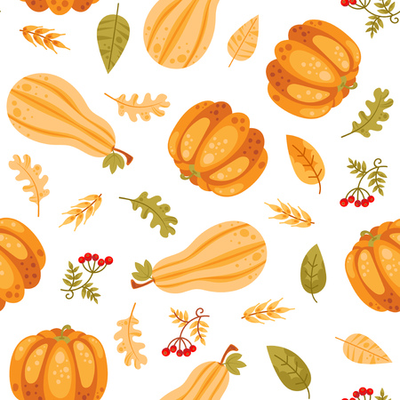 Seamless pattern with cartoon pumpkin and autumn leaves in bright color.Thanksgiving day vector background. Ilustrace