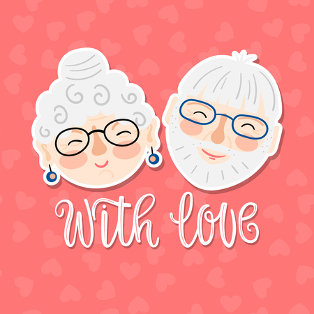 Cartoon smiling grandparents faces with inscription - with love on a pink background with hearts. Vector card for Grandparents Day.