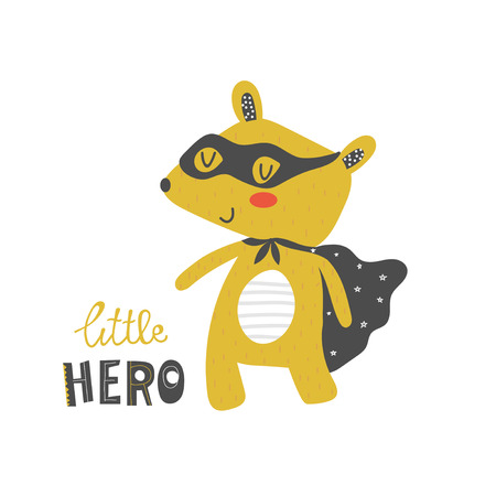 Bear Superhero with mask and raincoat. Illustration for kids in cartoon style in vector.