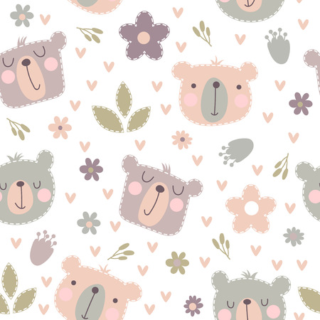 Seamless pattern with cute smiling bear head with flowers and leaves on a white background in a pastel color. Kids vector illustration.