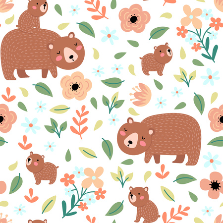 Seamless pattern with cute bears family and flowers on a white background. Vector illustration for children. Ilustrace