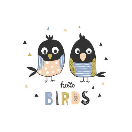 Illustration with two funny hand-drawn birds and inscription - hello birds. Vector illustration for kids in Doodle style. Ilustrace