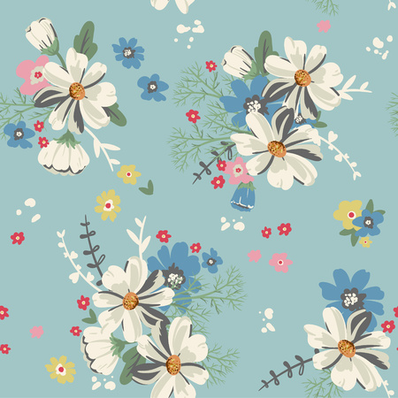 Seamless pattern with daisies and other flowers. Romantic floral background perfect for fabric textile, vintage paper.Vector illustration. Ilustrace