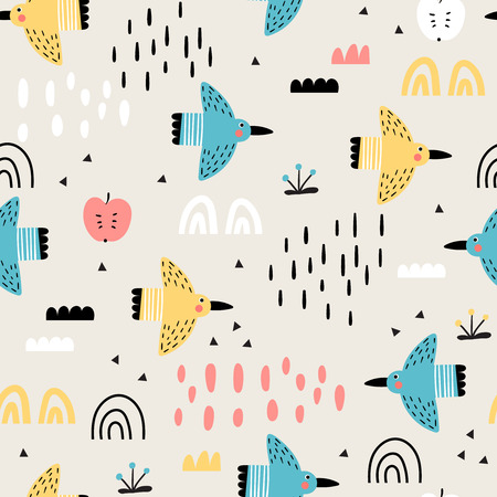 Baby seamless pattern with funny doodle birds, flowers and abstract hand-drawn elements. Childish illustration in vector.