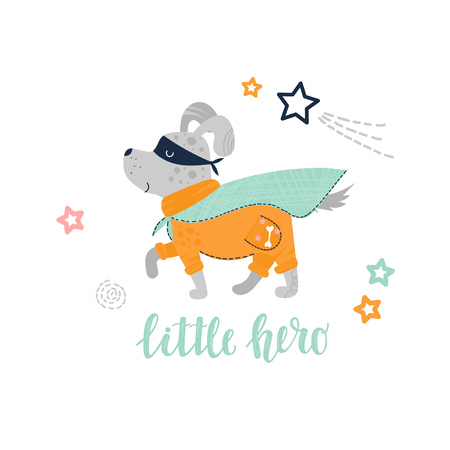 Gray cute puppy dog in a superhero costume. Little hero text. Flat vector illustration for kids. Ilustrace