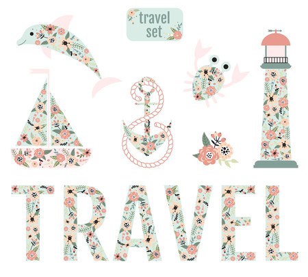 Nautical design elements with lighthouse, dolphin, anchor, boat, crab and the word travel with a flower pattern.