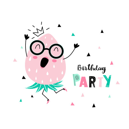 Birthday party card with funny dancing strawberry with human face and confetti and inscription - birthday party. Vector illustration. Ilustrace
