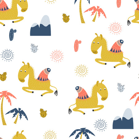 Seamless pattern with cute lying camel, mountains and palm trees on a white background. Vector illustration.