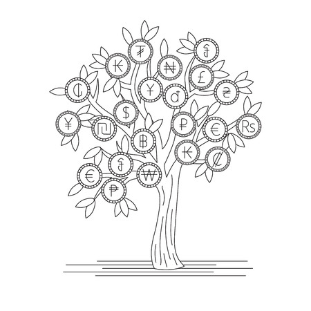 Tree with currency icons with  money from different countries. Abstract concept illustration.