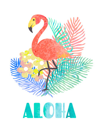 Beautiful vector tropical jungle floral illustration with pink flamingo, palm leaves and word aloha.Hawaiian illustrations, floral elements isolated on white background.