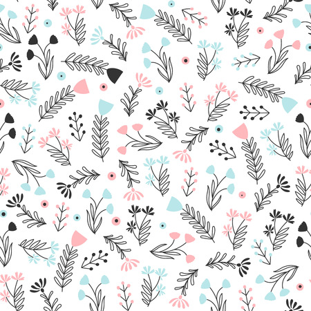 Simple botanical ornament with small elements on white background. Simple flower vector background. Ilustrace