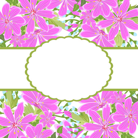 Greeting card, invitation, banner.  Frame for your text with floral background .Vector illustration.