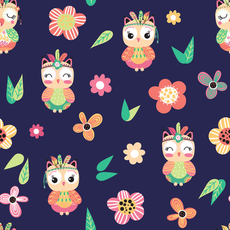 Seamless pattern with cute cartoon owls and flowers on a blue background. Vector illustration.