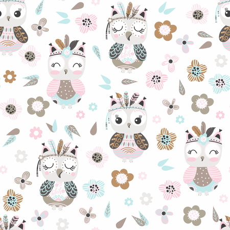Seamless pattern with cute cartoon owls and flowers in pastel colors on a white background. Vector illustration. Ilustrace