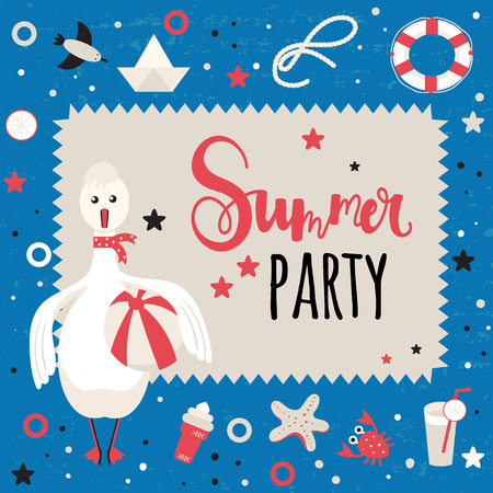Background for invitation or greetings on a summer holiday theme. Happy Goose, drinks, ice cream, seagull, starfish, and other marine elements.