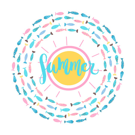 Summer round symbol with abstract sun and various fishes and hand written word - summer