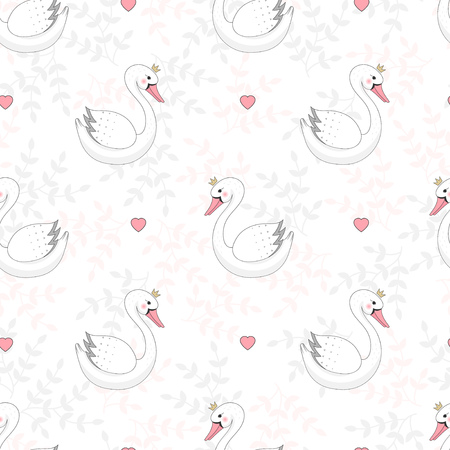 Seamless pattern with cute white swan with crown on floral background. Vector illustration.