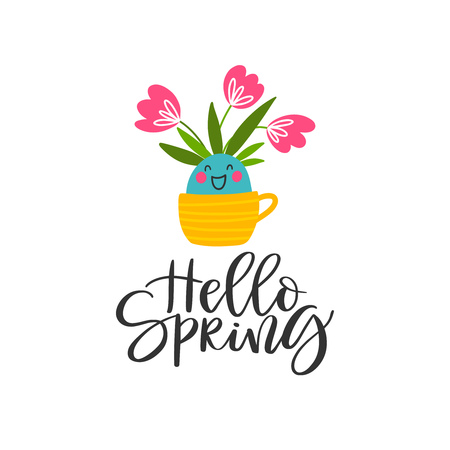 Spring background with funny tulips in a pot and the inscription - Hello Spring isolated on a white background. Vector illustration. Ilustrace