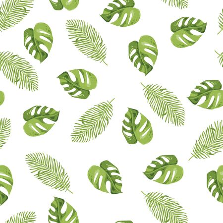 Seamless pattern with tropical leaves on a white background. Vector illustration.