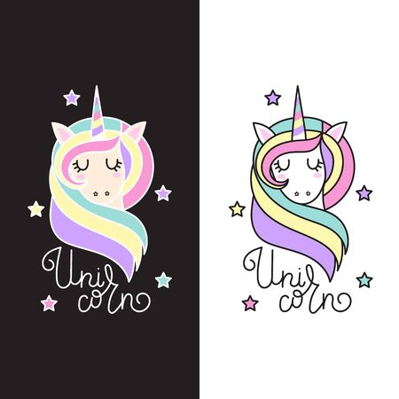 Cute unicorn with stars and inscription