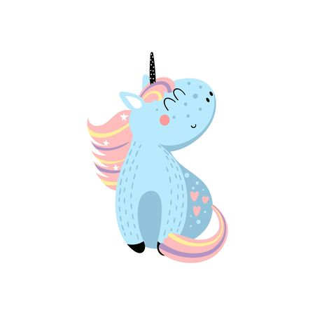 Vector hand drawn illustration of sitting cartoon unicorn on white background. It can be used for greeting cards or posters. Иллюстрация