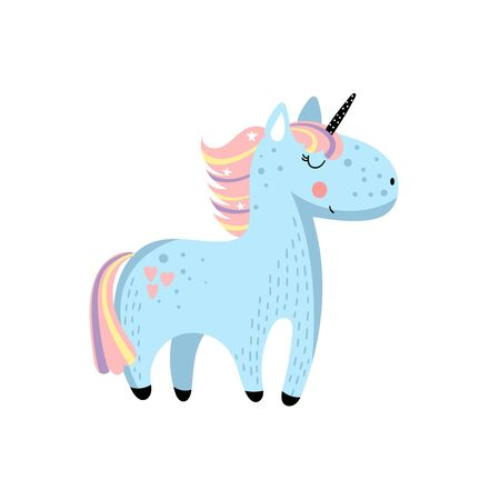 Vector hand drawn clip art of cartoon unicorn on white background. It can be used for greeting cards or posters.