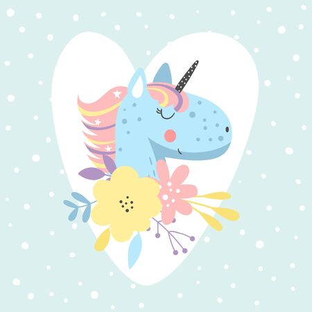 Illustration with cute blue unicorn with flowers on heart background. Perfect for greeting cards, poster or a childrens room decoration.