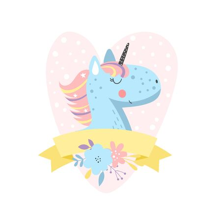 Illustration with funny cartoon unicorn with flowers on pink heart background and yellow ribbon for your text. Perfect for greeting cards, poster or a childrens room decoration.