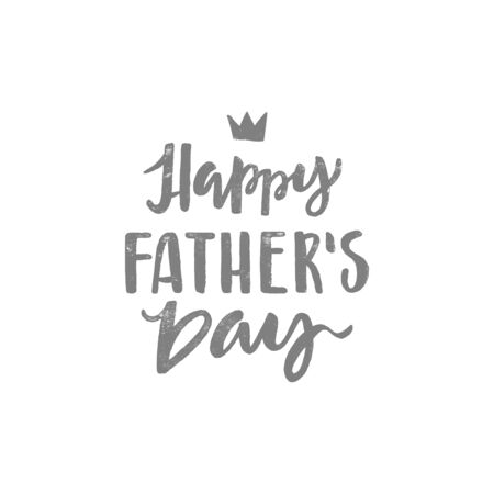 Happy fathers day handwritten lettering. Vector calligraphy with a brush on white background for your design.