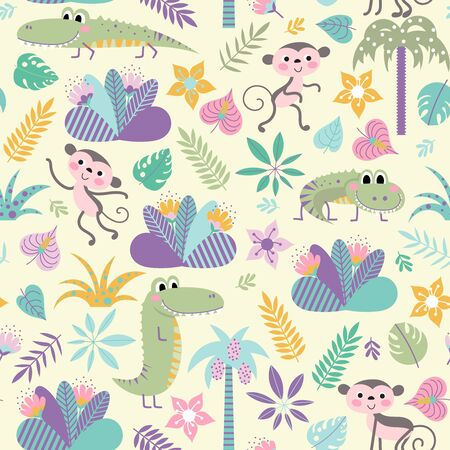 Seamless pattern with funny crocodiles and monkeys on a yellow background. Children vector background.