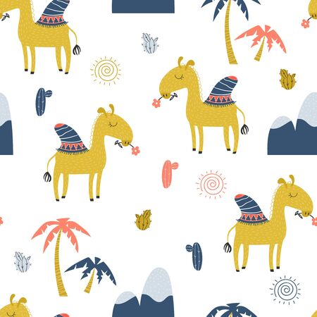 Seamless pattern with cute standing camel with flower, mountains and palm trees on a white background. Vector illustration.