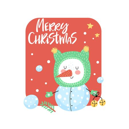 Merry Christmas card with cute snowman and handwritten text on red background. Vector illustration.