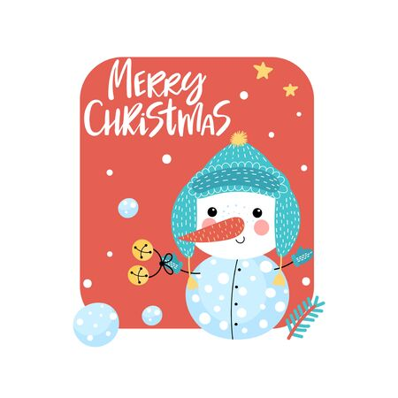 Greeting card with smiling snowman and handwritten text - Merry Christmas on a red background. Vector illustration. Ilustracja