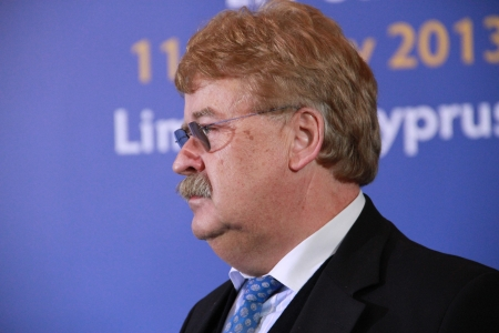 committee: Limassol, Cyprus - January 11, 2013 - Chairman of the Foreign Affairs Committee (AFET) in the European Parliament Elmar Brok at the special summit of the leaders of the right-centrist EPP