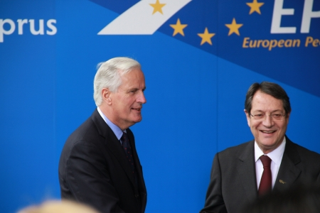 commissioner: Limassol, Cyprus - January 11, 2013 - Michel Barnier, European Commissioner for Internal Market and Services and Nicos Anastasiades, Candidate for President of Cyprus, meet at the special summit of the leaders of the right-centrist EPP.