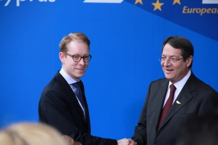 Limassol, Cyprus - January 11, 2013 - Tobias Billström, Swedish Minister for Migration and Asylum Policy and Nicos Anastasiades, Candidate for President of Cyprus, meet at the special summit of the leaders of the right-centrist EPP. Stock Photo - 19184524