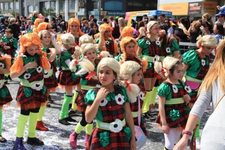 limassol: Limassol, Cyprus - March 10, 2013 - Children. Annual Carnival Procession.