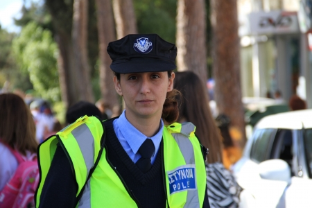Pafos, Cyprus - March 16, 2013 - Woman police officer. Carnival in Cyprus.