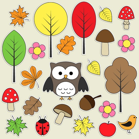 cute owl: Set of autumnal bright stickers.