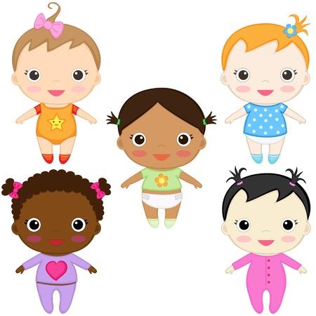 mu�ecas de papel: Seis ni�as de beb� feliz.