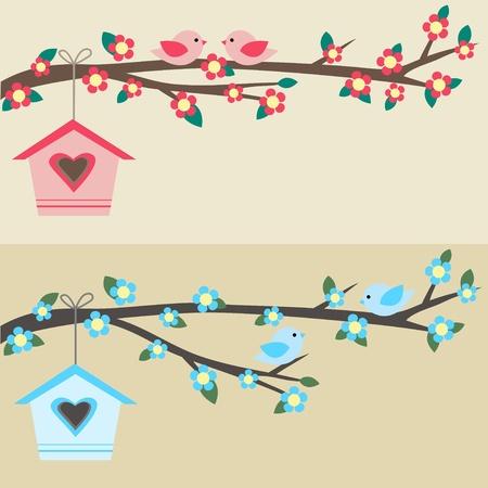 sweet home: Tarjetas con parejas de aves en ramas y birdhouses. Vectores