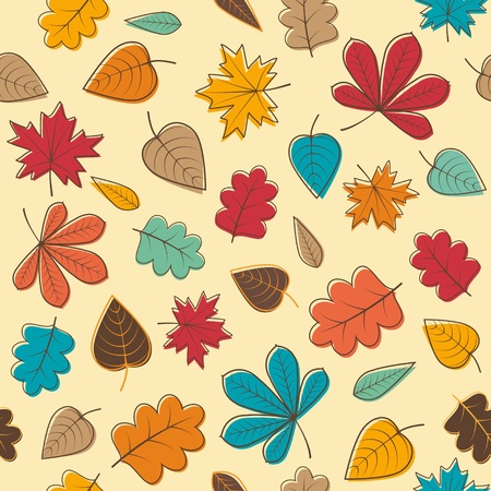 Autumn seamless pattern with colorful leafs Vector