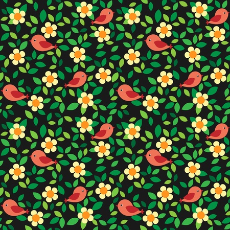 Little birds among flowers and leafs on dark background. Vector