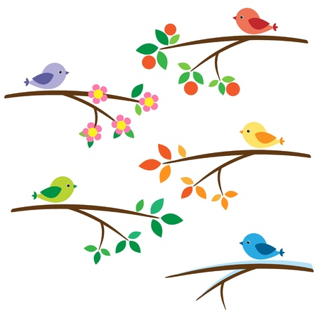 Birds sitting on different branches Illustration